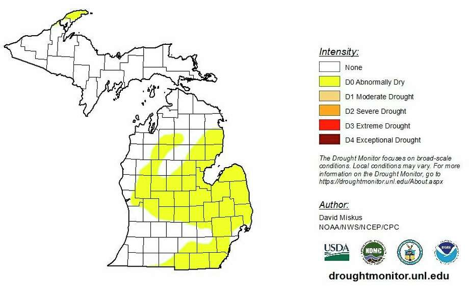"The latest Drought Monitor, released Thursday, July 16, shows much of Michigan as ""abnormally dry."" Recent rains could change the classification later this week. ( droughtmonitor.unl.edu)"