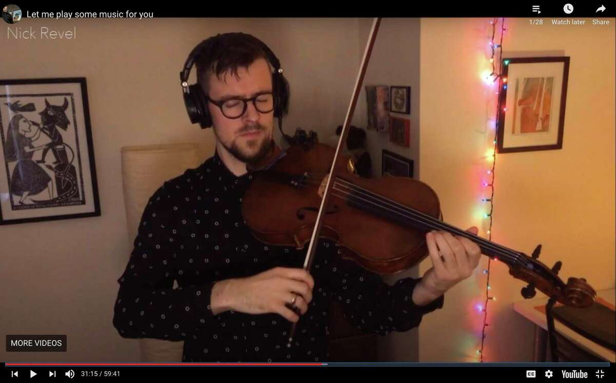 Violinist Nick Revel performs over Twitch.