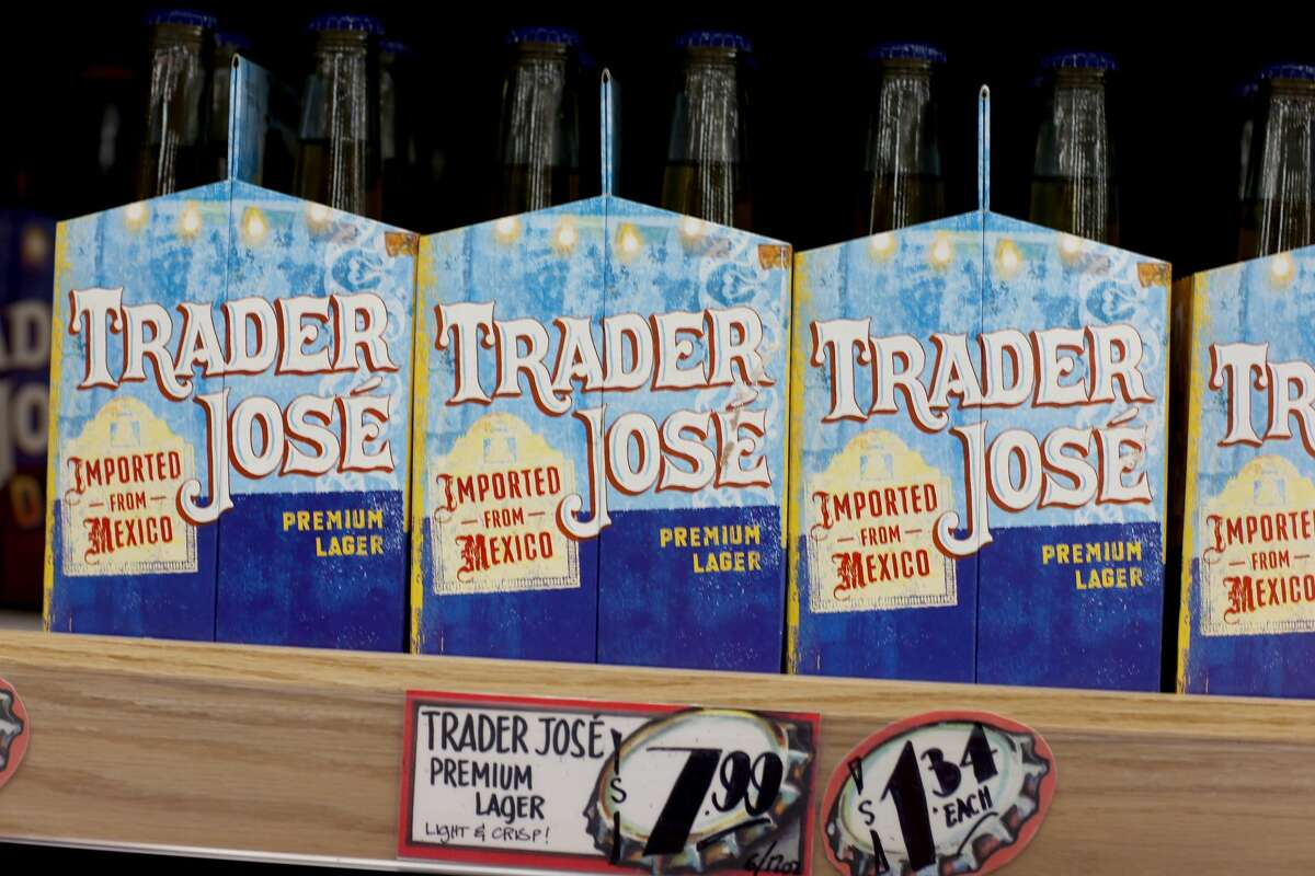 Trader Joe's beer is seen on the shelf during the grand opening of a Trader Joe's on October 18, 2013 in Pinecrest, Florida. Trader Joe's is working to remove names like Trader José from its products.