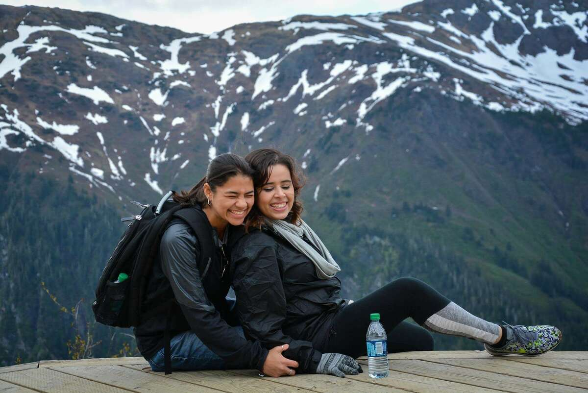 Alyssa, left, and Evelin visited Alaska while Alyssa was working on a cruise line.