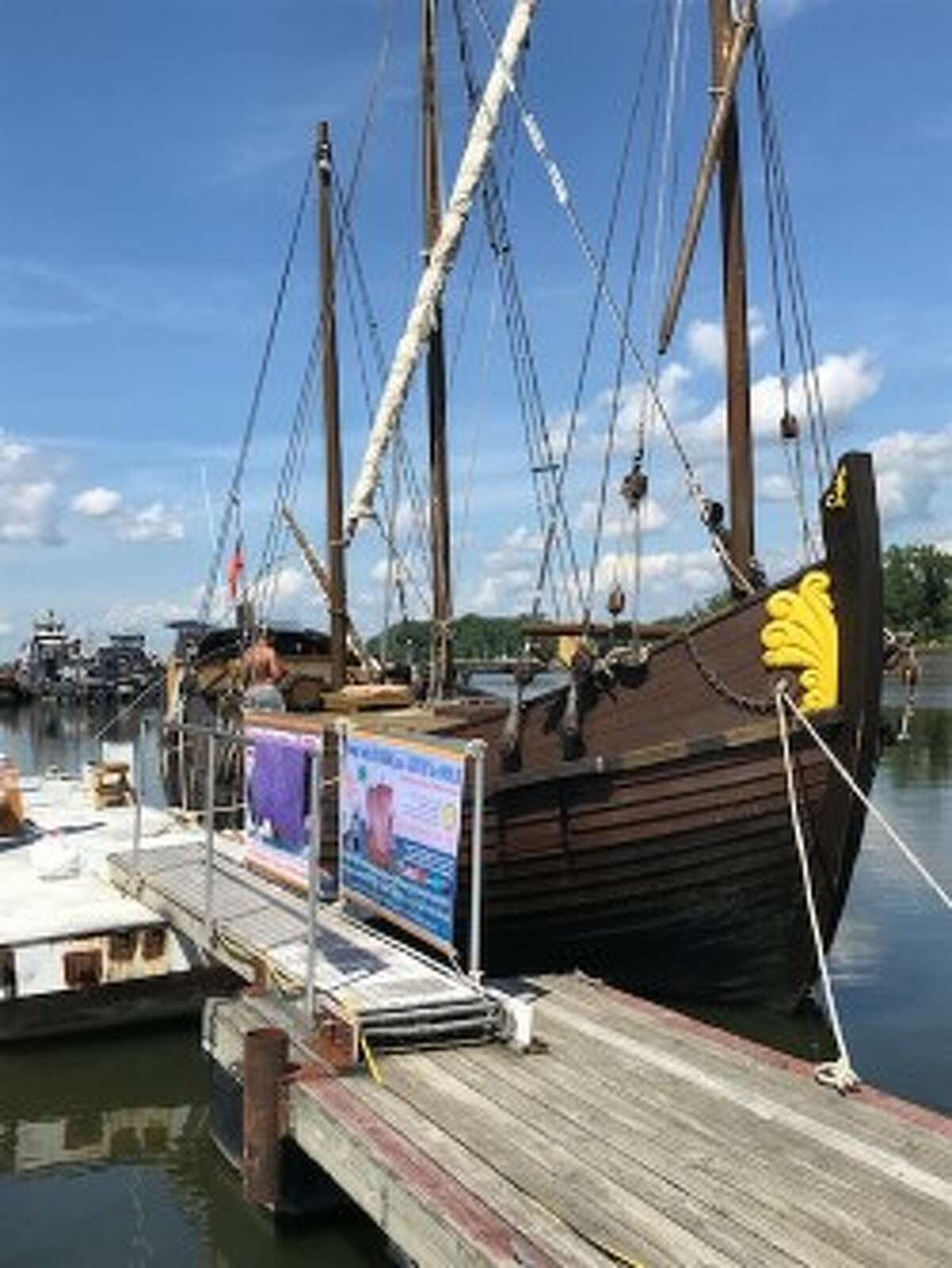 The 18th-century Russian replica cargo ship Pilgrim is docked in Albany through July 30 and open to free public tours with registration and a ticket. (Paul Grondahl / Times Union)