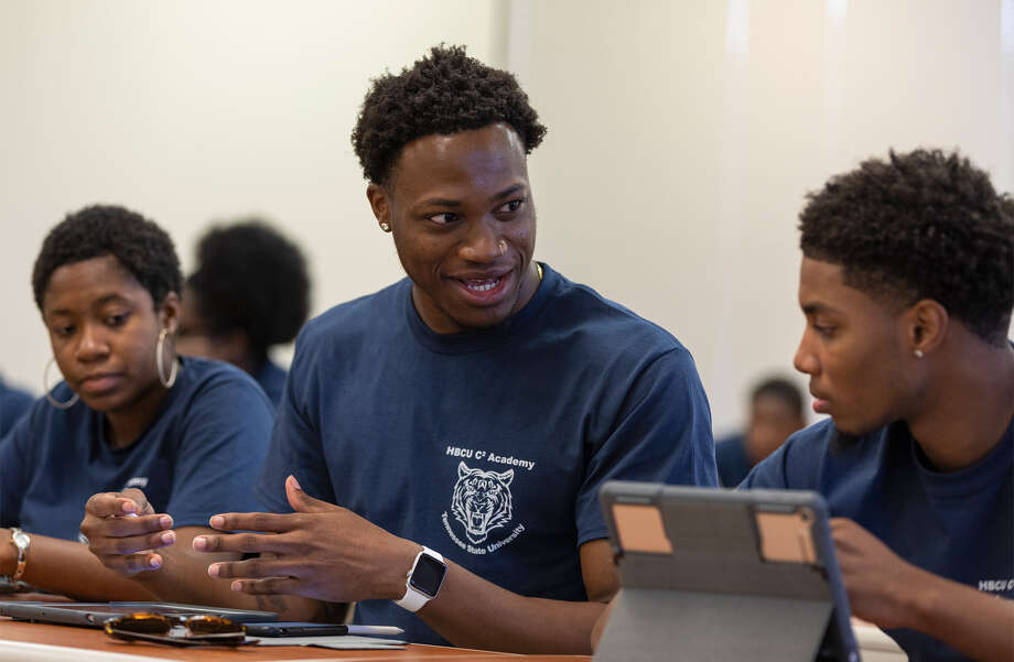 Pictured above, is Elliott Hudson, native Houstonian and graduate of Dillard University, and product ofApple's Community Education Initiative Photo: Apple