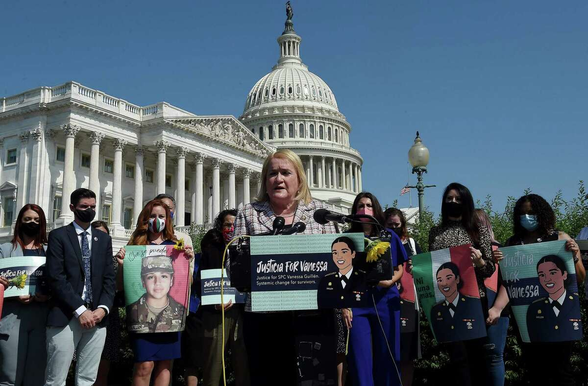 U.S. Representative Sylvia Garcia, a Democrat from Texas, speaks at a press conference outside the U.S. Capitol on July 21, 2020, to demand justice for Vanessa Guillén, a Texas soldier who was killed by a fellow soldier stationed at Fort Hood. (Photo by Olivier DOULIERY / AFP) (Photo by OLIVIER DOULIERY/AFP via Getty Images)