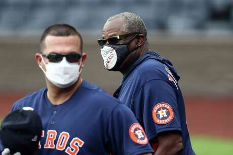 KANSAS CITY, MISSOURI - JULY 21: Manager Dusty Baker, Jr. #12 of the Houston Astros during an exhibition game against the Kansas City Royals at Kauffman Stadium on July 21, 2020 in Kansas City, Missouri.