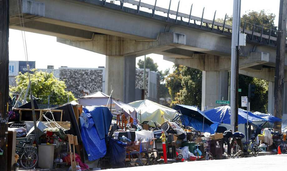 A homeless camp at Market Street and 5th Street is photographed on Thursday, May 18, 2017, in Oakland, Calif. Photo: MediaNews Group/Bay Area News Vi/MediaNews Group Via Getty Images / BAY AREA NEWS GROUP