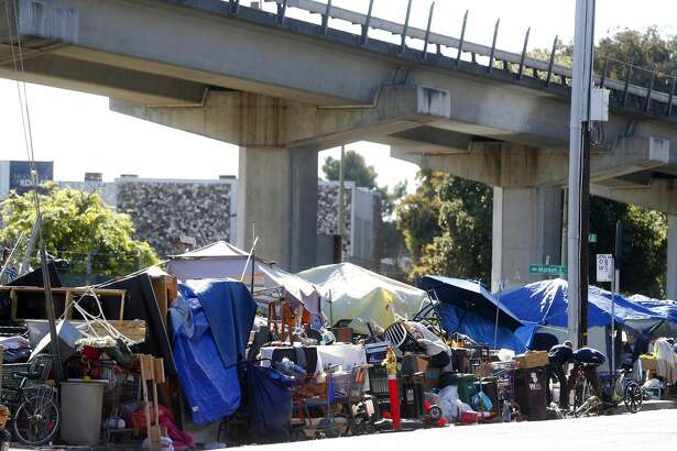 A homeless camp at Market Street and 5th Street is photographed on Thursday, May 18, 2017, in Oakland, Calif. (Aric Crabb/Bay Area News Group) (camp 20) (Photo by MediaNews Group/Bay Area News via Getty Images)