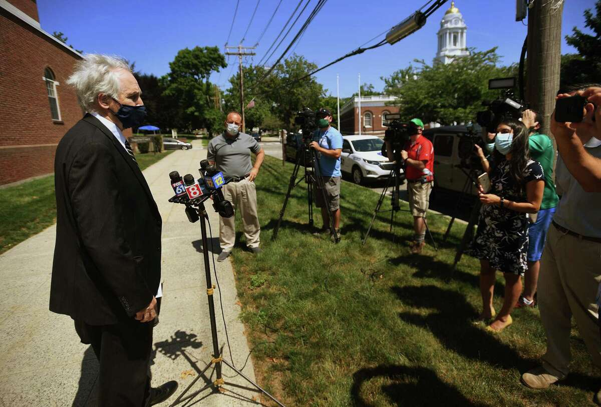 Gene Riccio, lawyer for the kidnap victim in the Peter Manfredonia case, gives a statement following Manfredonia's arraignment on murder and kidnapping charges in state Superior Court in Milford, Conn. on Monday, July 20, 2020.
