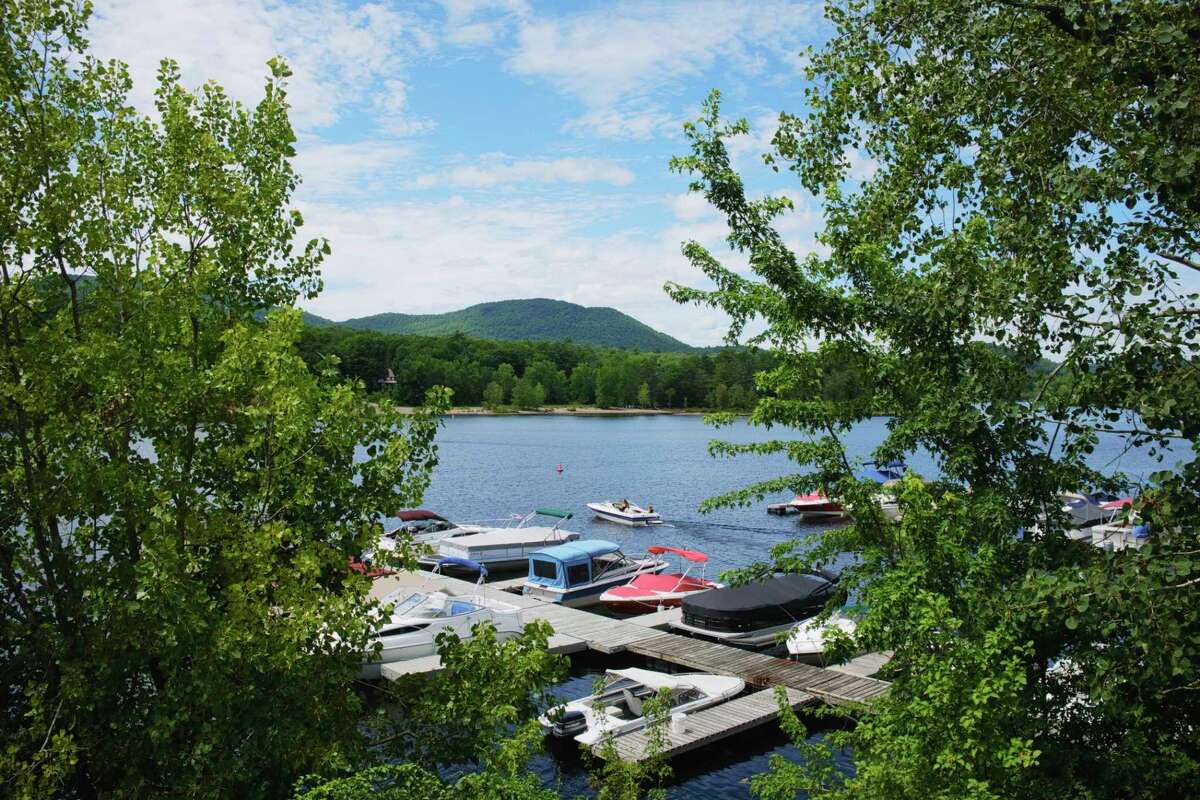 A boater heads out onto Great Sacandaga Lake on Tuesday, July 21, 2020, in Northville, N.Y. (Paul Buckowski/Times Union)