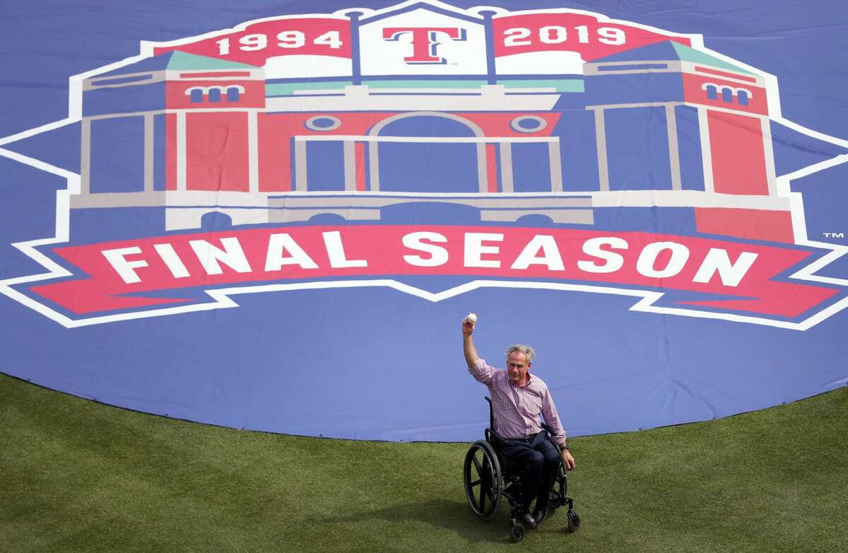 ARLINGTON, TEXAS - MARCH 28: Texas Governor Greg Abbott throw out the ceremonial first pitch prior to the Texas Rangers taking on the Chicago Cubs during Opening Day at Globe Life Park in Arlington on March 28, 2019 in Arlington, Texas. (Photo by Tom Pennington/Getty Images)