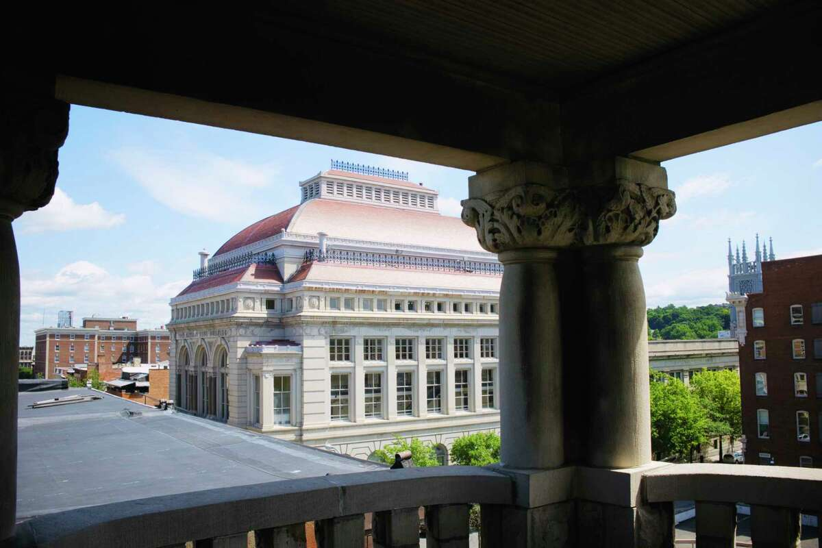 A view of Troy from a balcony off the top floor of The Castle, the nickname for the former Pi Kappa Phi fraternity house, on Tuesday, July 21, 2020, in Troy, N.Y. (Paul Buckowski/Times Union)