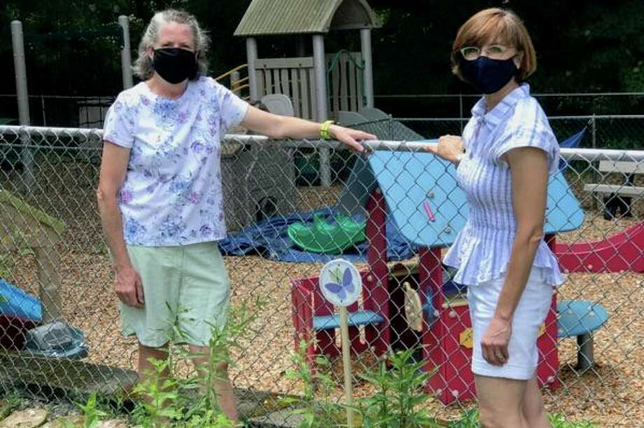 Teachers Anne Gaston and Sarah Harris stand by the new pollinator garden at Zion's Hill Preschool. Photo: Contributed Photo / Zion's Hill Preschool / Wilton Bulletin Contributed