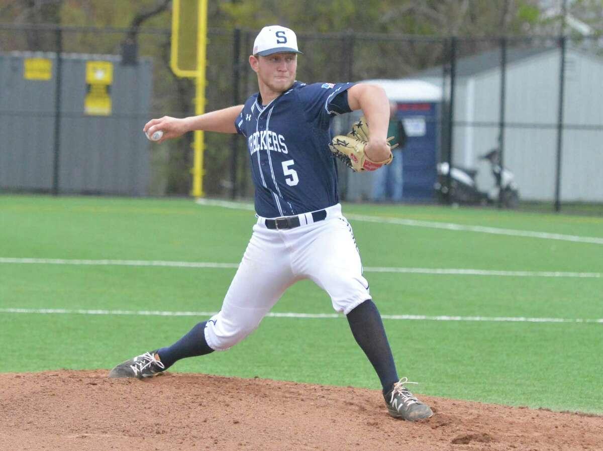 Staples # 5 Ben Casparius on the mound during baseball action vs Norwalk High School in Norwalk Conn. on Wednesday April 26, 2017.