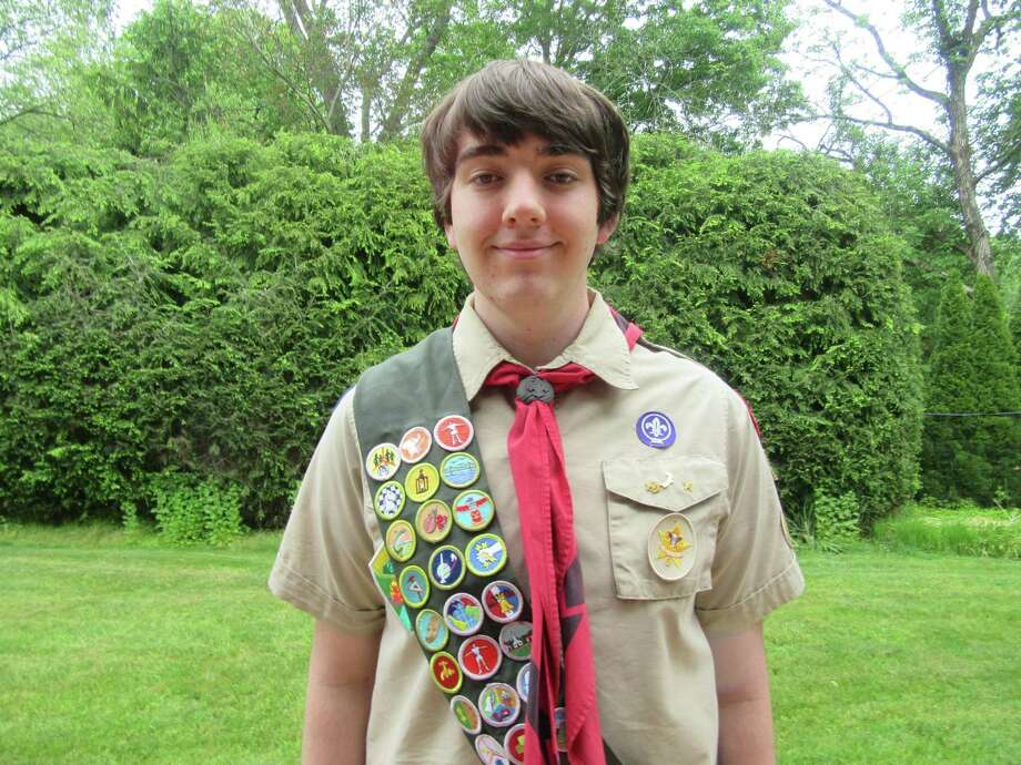 Gary Stewart, a Fairfield resident completing the service project required to become an Eagle Scout, is hosting a food drive on Saturday to benefit Operation Hope and the Bigelow Senior Center's mobile food pantry. Photo: / Gary Stewart