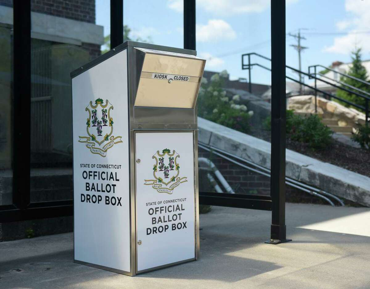 A Connecticut absentee ballot drop box. Key Dates Sept. 8-11 The state mailed absentee ballot applications to 2.2 million registered voters from all parties and unaffiliated. Oct. 2 The first day when towns can mail out absentee ballots. Towns must mail ballots within 48 hours of a voters' requests. Oct. 27 Deadline to register to vote - 11:59 p.m. online; close of business at DMV offices; postmarked by this date if done by mail; or by 8 p.m. if down in person at town halls, where offices must remain open until that time. Nov. 2 Last day to request absentee ballots. But if you request it by mail or receive it in person, you will miss the deadline. Nov. 3 Election Day - Polls open 6 a.m. to 8 p.m. Election Day registration is available in town halls; voters must be in the town hall office by 8 p.m. Delivery deadline for absentee ballots (not postmark) is 8 p.m., either by mail or in drop boxes, typically at town halls. Vote tallies for in-person balloting are due to the state by midnight. Nov. 7 Saturday, all vote totals including absentee ballot counts are due to the state by 8 p.m.