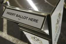 An absentee ballot drop box provided by the Secretary of the State's Office to Connecticut municipalities for voting in the upcoming elections.