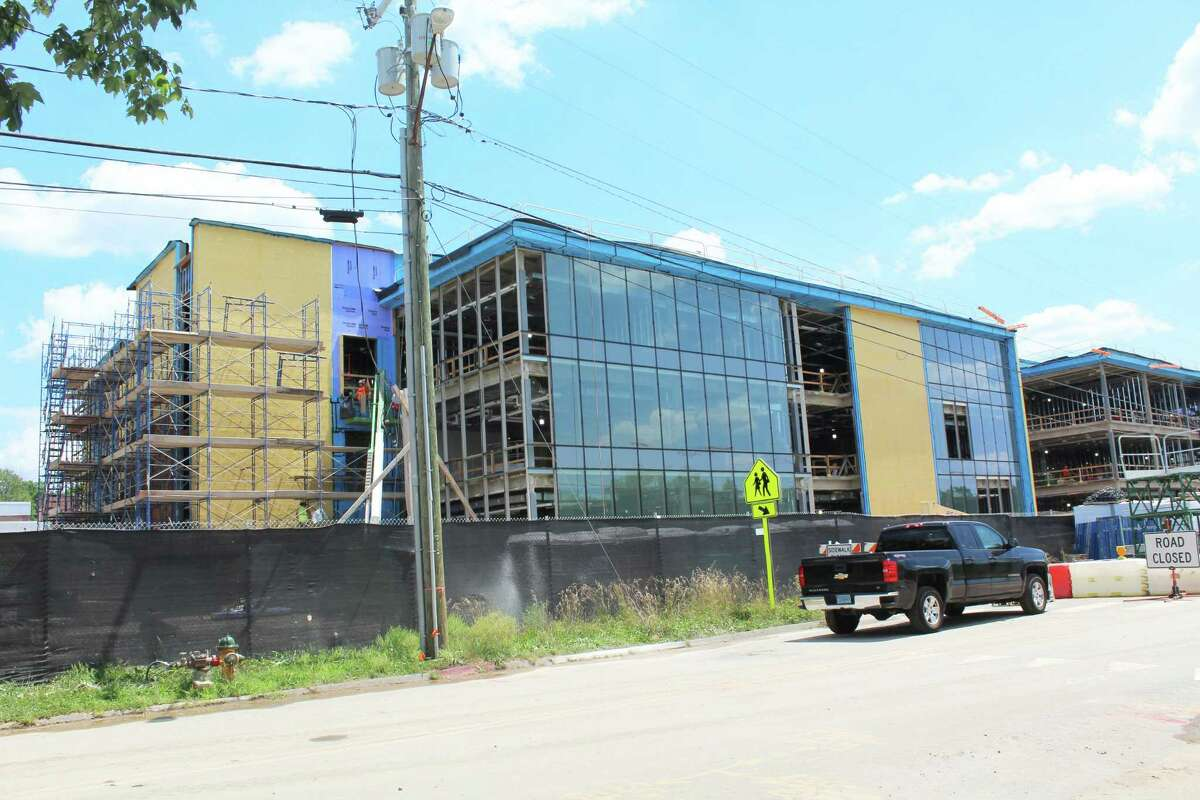 Construction continued Tuesday afternoon at the $87.35 million Woodrow Wilson Middle School project on Wilderman's Way in Middletown, which is expected to be complete in August 2021. Common Council Majority Leader Gene Nocera said the work is right on schedule.