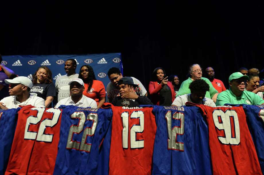 West Brook's college-bound athletes join in the ceremonial signing as the school, athletes, students and families celebrate National Signing Day Wednesday.  Photo taken Wednesday, February 5, 2020 Kim Brent/The Enterprise Photo: Kim Brent / The Enterprise / BEN