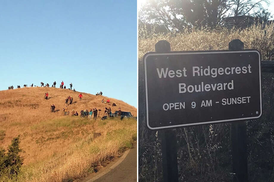 Dozens of photographers with their cameras line the roads of Mt. Tamalpais State Park on Sunday evening to take photographs of Comet Neowise despite a sign at the entrance informing visitors the park closes at sunset. Photo: Courtesy Ben Stein