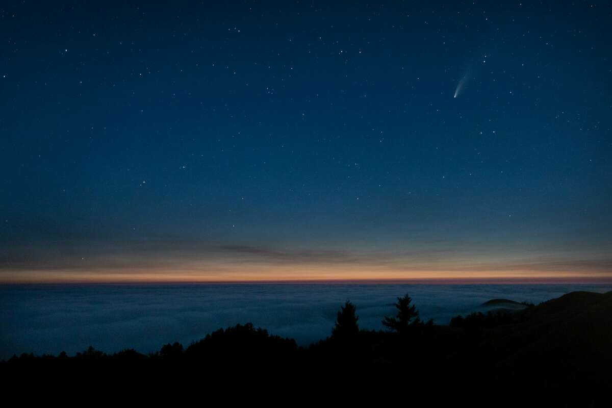 Photographer John Todd composed this image of Comet Neowise appearing just after sunset from Mount Tamalpais.