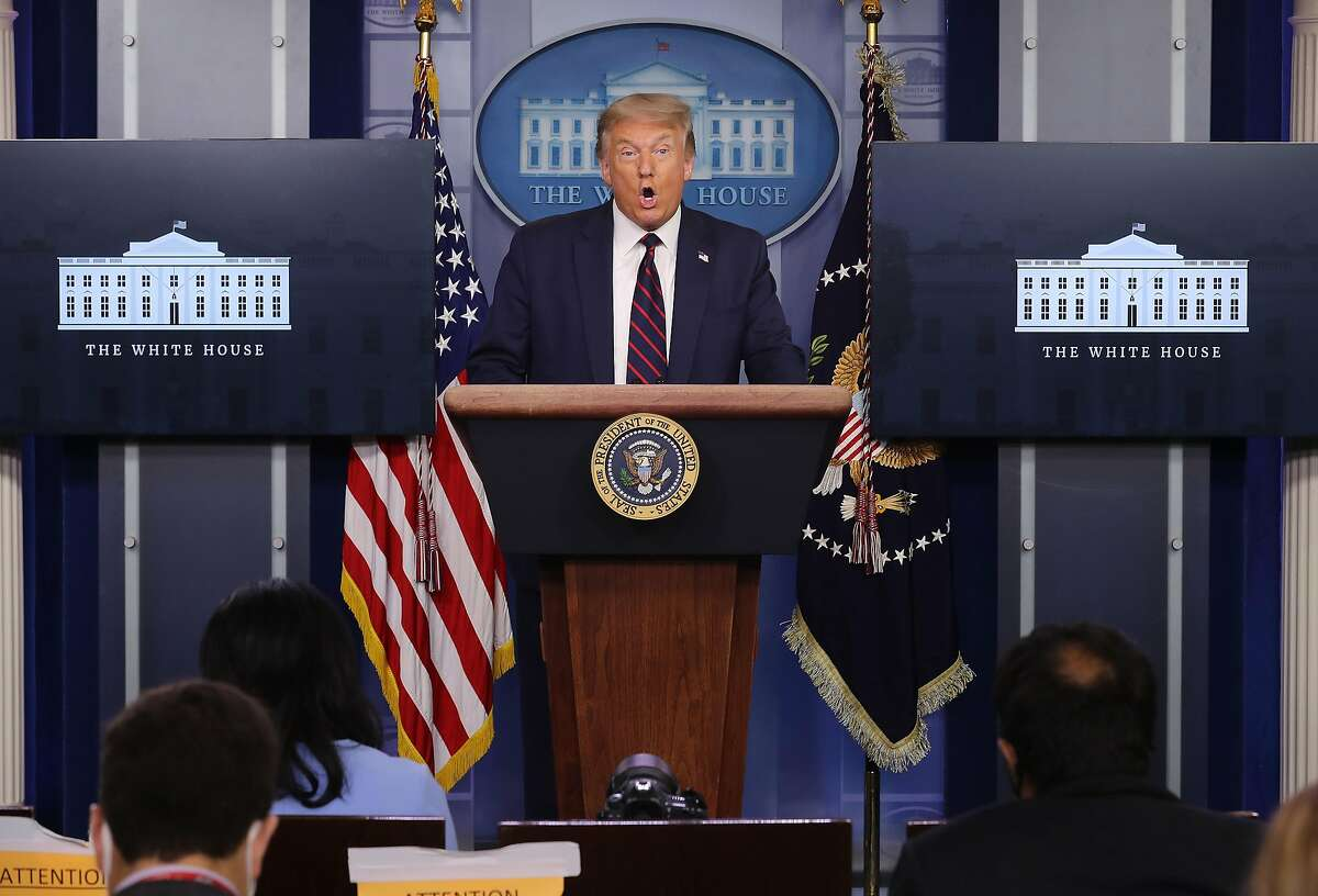 WASHINGTON, DC - JULY 21: U.S. President Donald Trump speaks to reporters during a news conference in the Brady Press Briefing Room at the White House July 21, 2020 in Washington, DC. Trump said Monday that the briefing would be focused on the coronavirus, his first with his task force since April 27. Since then poll numbers about his handling of COVID-19 pandemic have started to fall and cases of the deadly virus have spiked across the country. (Photo by Chip Somodevilla/Getty Images)