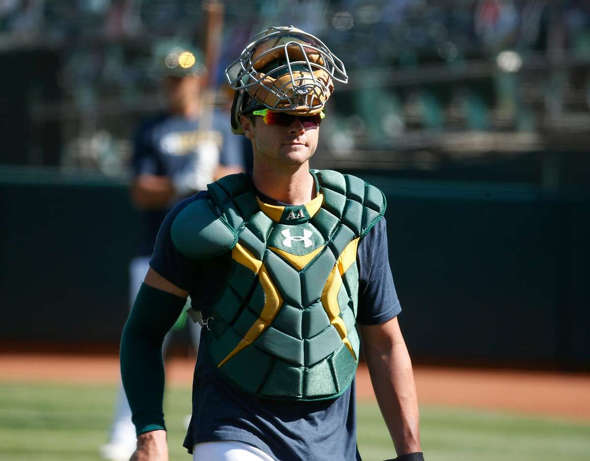 Catcher Austin Allen during the Oakland A's summer training camp at the Coliseum in Oakland, Calif. on Saturday, July 18, 2020.