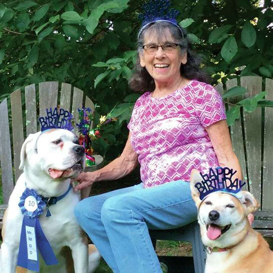 "Ruth Krebs-Pearl of New Milford has announced the release of her first book, ""What's a Nice Dog Like You Doing in a Place Like This?"" Photo: Courtesy Of Ruth Krebs-Pearl / Danbury News Times Contributed"