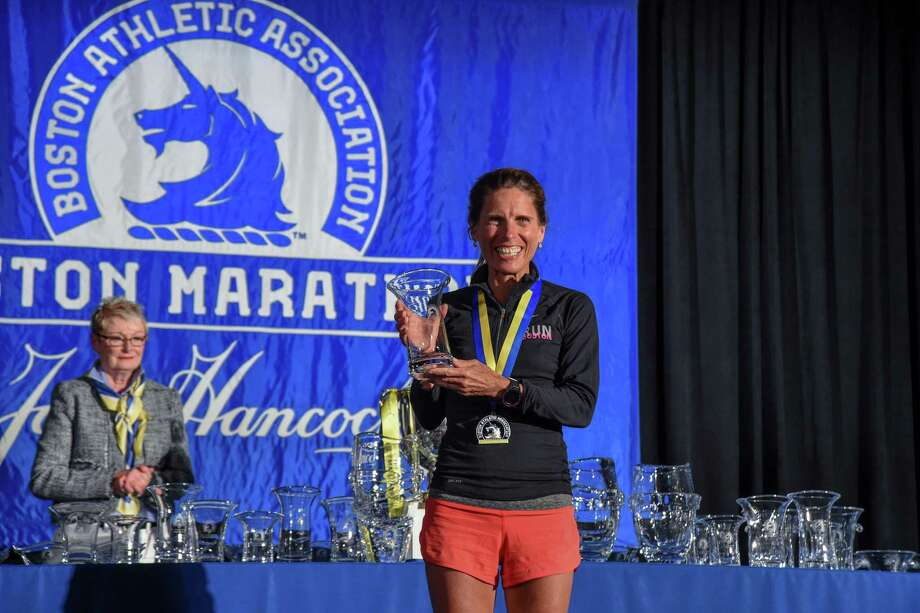 Heather Pech won the 55-59 women's division at the Boston Marathon in 2017. Photo: Contributed Photo / Contributed Photo / Darien News contributed
