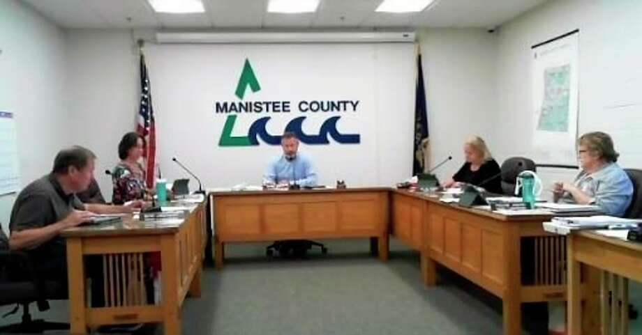 The Manistee County Board of Commissioners met July 21 while maintaining a six foot distance. (Scott Fraley/News Advocate)