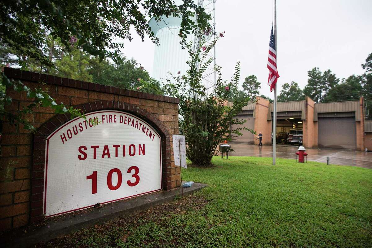 The flag flies at half staff to honor fallen Houston Fire Capt. Leroy Lucio at Station 103 on Tuesday, July 21, 2020 in Kingwood. Lucio, a 29-year veteran of the department, died Monday from COVID-19, according to Chief Sam Peña. He was battling the virus at a hospital in his hometown of San Antonio and is the first firefighter in Houston to die from the virus, the Houston Professional Fire Fighters Association said.