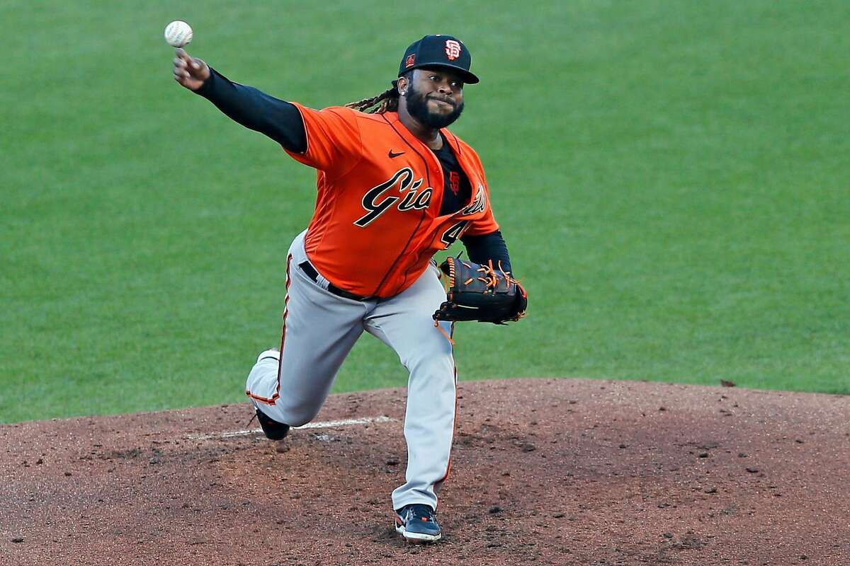 San Francisco Giants pitcher Johnny Cueto in an intrasquad game during summer camp at Oracle Park on Saturday, July 18, 2020, in San Francisco, Calif.