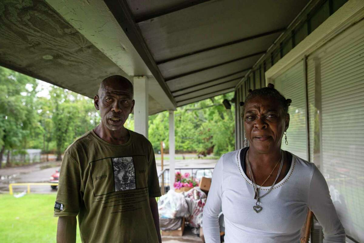 Anthony Tillis, 55, and his sister, Denise Tillis, 61, who live in two different apartments in a two-story apartment complex in East Houston, on Tuesday, July 21, 2020.