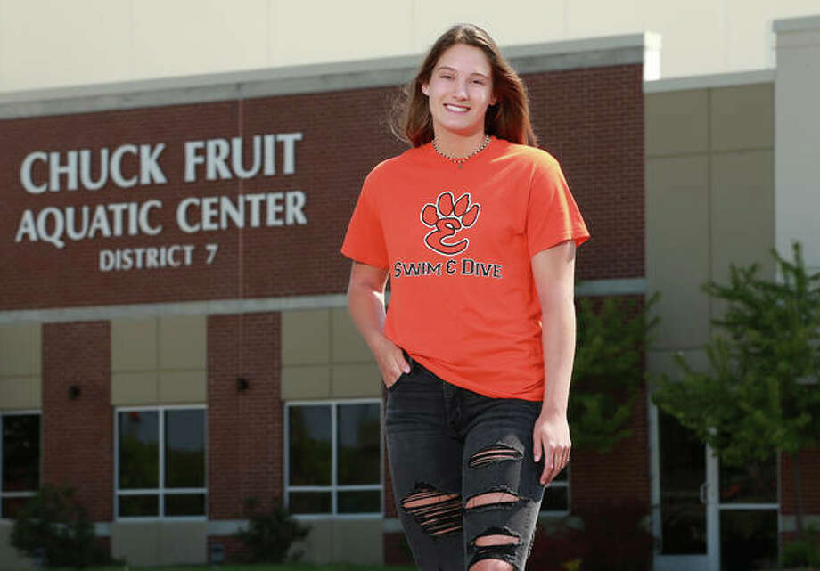 Josie Bushell of Edwardsville, at her 'home away from home,' the Chuck Fruit Aquatic Center at Edwardsville. She grabbed a state medal in the 100-yard freestyle her senior season and captured The Telegraph's Female Swimmer of the Year honor for the third consecutive season. She will swim next season at Drury University in Springfield, Missouri. Photo: Billy Hurst, Front Row Photo | For The Telegraph