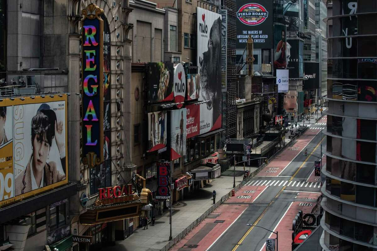 A nearly empty street is seen in Times Square in New York on June 11. 2020.