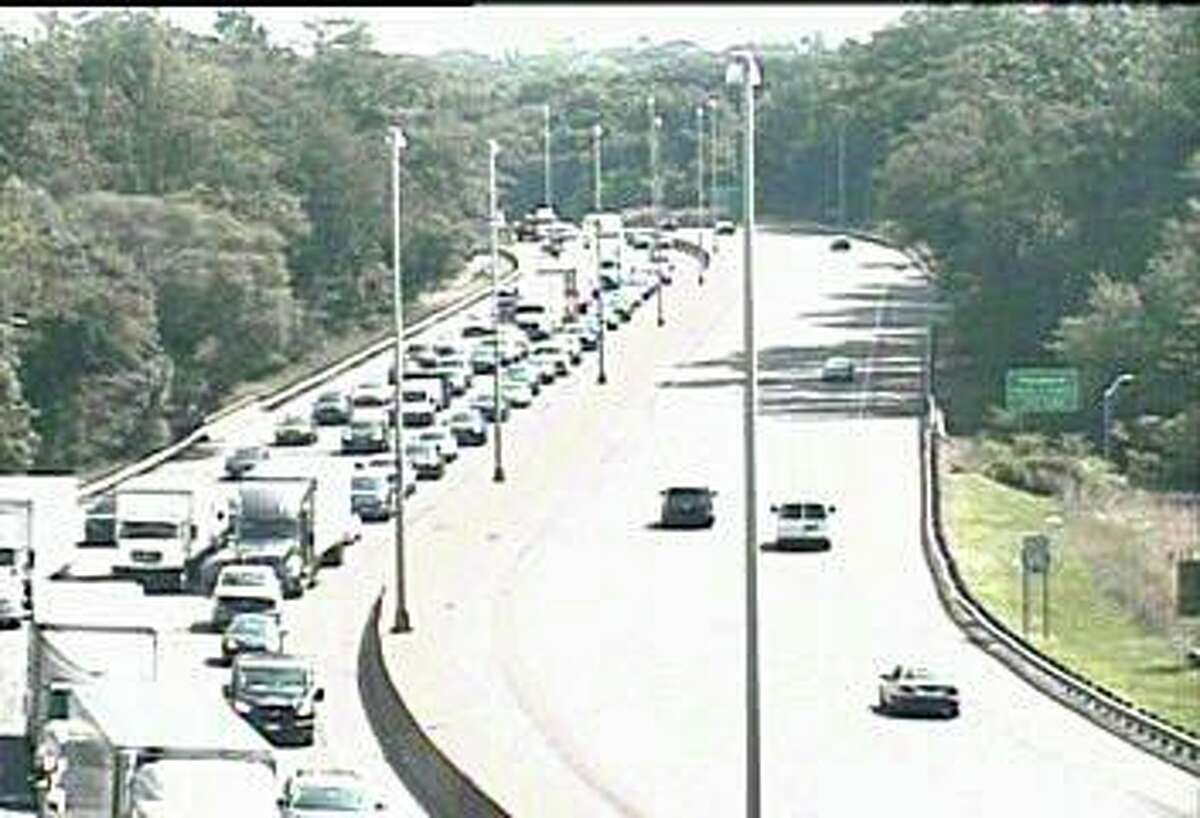 Northbound traffic on I-95 is congested more than two miles after an accident involving two tractor-trailers closed the left and center lanes between Exits 12 and 13 in Darien on Wednesday, July 22, 2020.