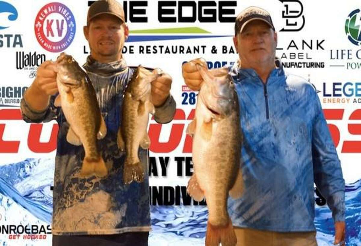Evan and Tim Carlson won the CONROEBASS Tuesday Night tournament with a stringer weight of 13.11 pounds.