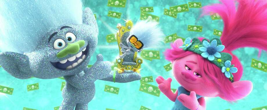 """This image released by DreamWorks Animation shows characters, from left, Guy Diamond, voiced by Kunal Nayyar, Tiny Diamond, voiced by Kenan Thompson and Poppy, voiced by Anna Kendrick in a scene from """"Trolls World Tour."""" Photo: DreamWorks Animation / Associated Press / © 2020 DreamWorks Animation LLC. All Rights Reserved."""