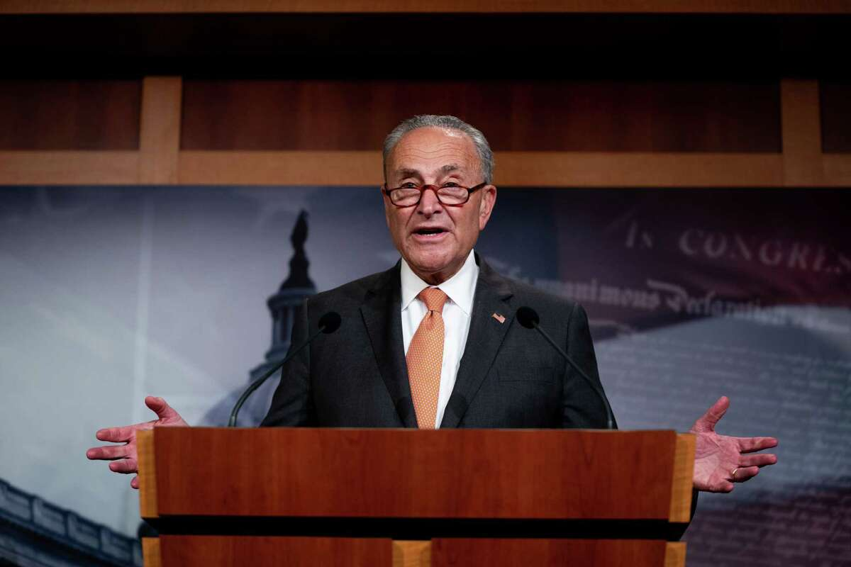 Senate Minority Leader Sen. Chuck Schumer (D-N.Y.) speaks at his weekly news conference in Washington, on Tuesday, July 21, 2020. (Anna Moneymaker/The New York Times)