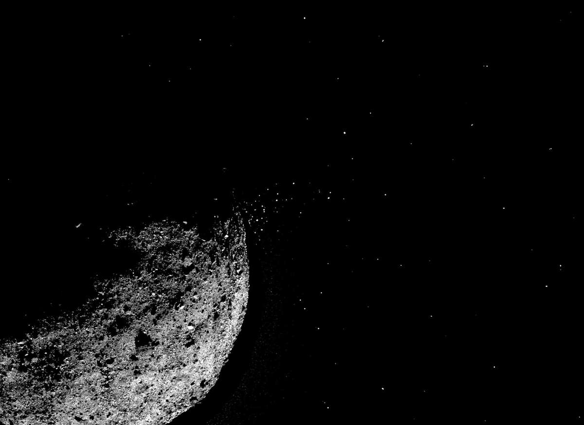 An image provided by NASA/Goddard/University of Arizona/Lockheed Martin shows particles ejecting from asteroid Bennu's surface on Jan. 19, 2019. Of the 8,000 asteroids discovered, only 12 have ever been observed releasing their material into space. (NASA/Goddard/University of Arizona/Lockheed Martin via The New York Times)