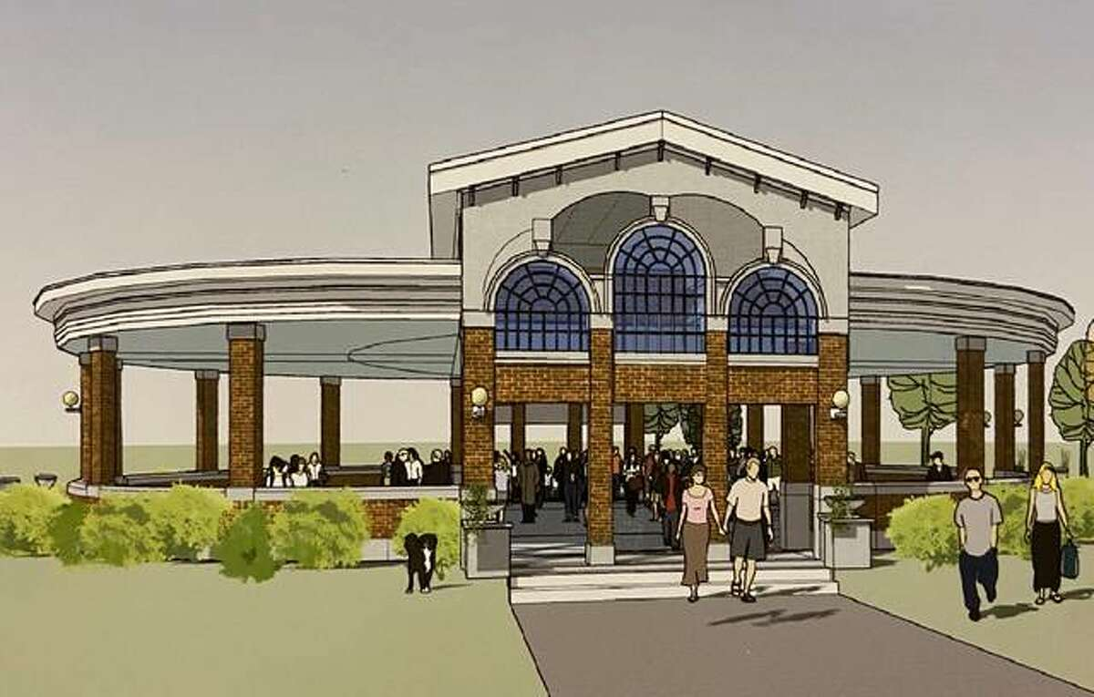 Wood River officials on Monday viewed an artist's rendering of the current structural plan for the historic roundhouse. Doors and windows would be removed at the structure, turning it into a pavillion.