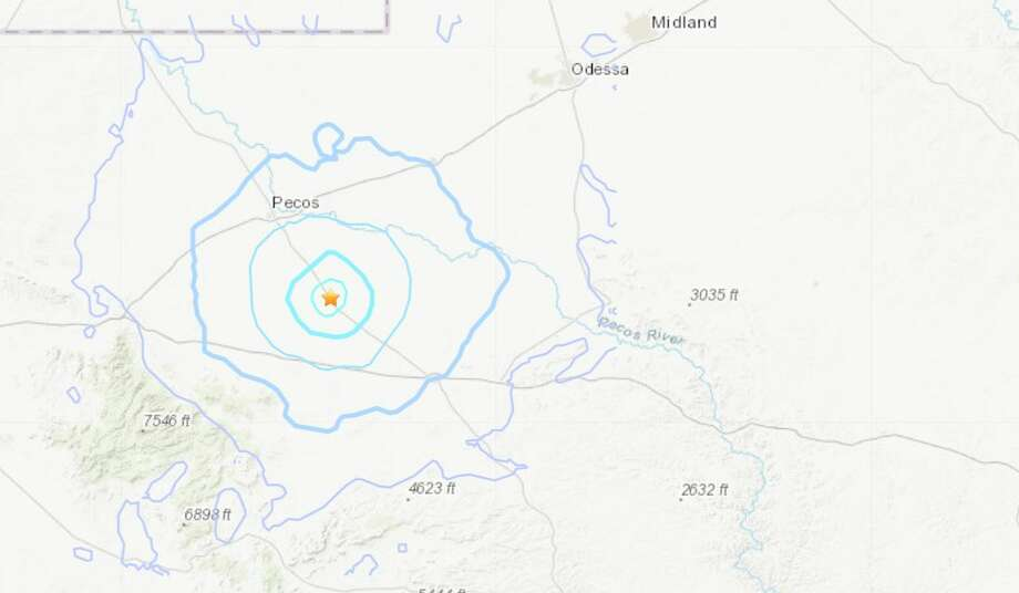 The U.S. Geological Survey reported Wednesday that a 3.5 magnitude quake hit south of Pecos. The quake happend around 12:01 p.m. Photo: U.S. Geological Survey