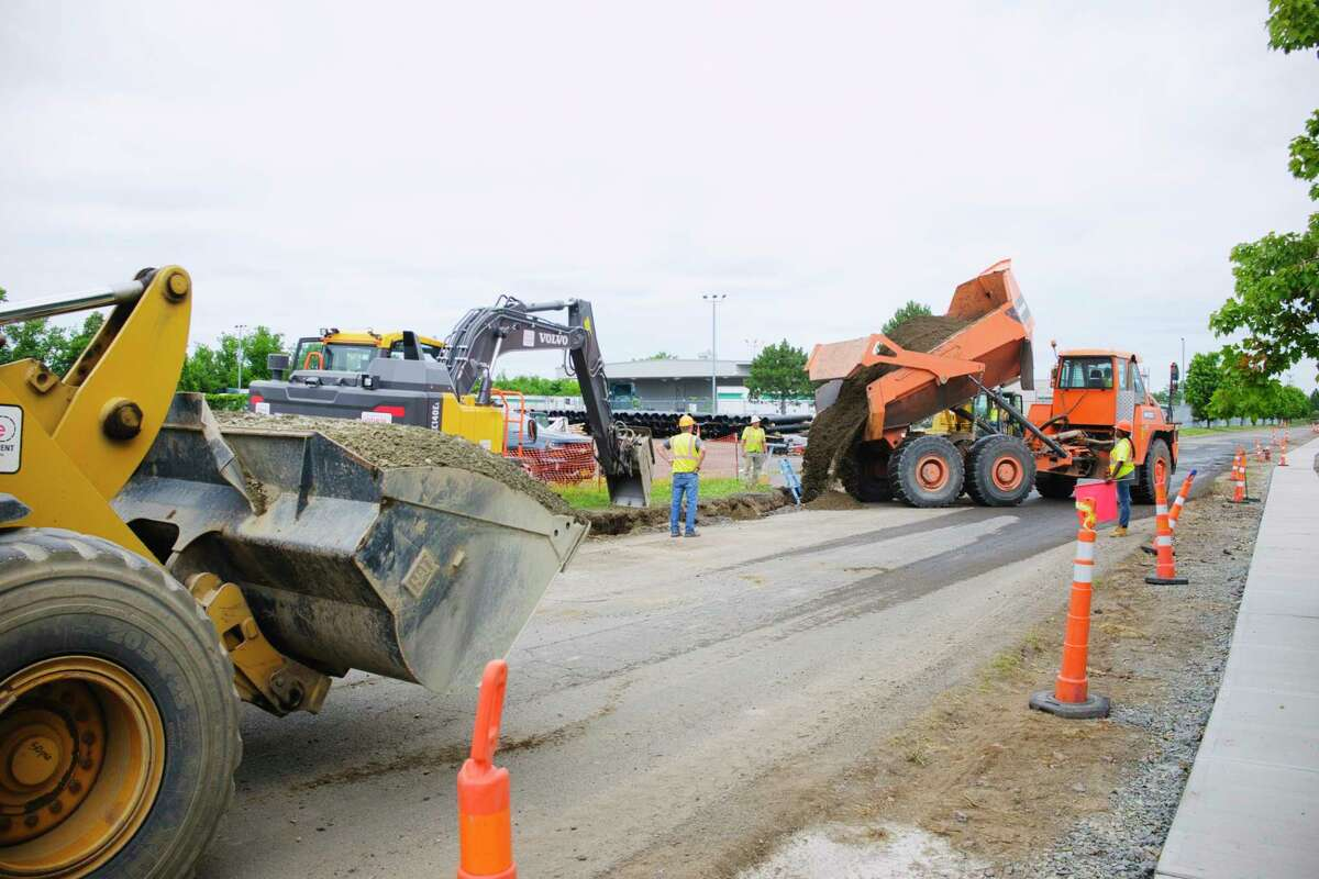Construction work has started on the South Troy Industrial Road project on Wednesday, July 22, 2020, in Troy, N.Y. (Paul Buckowski/Times Union)