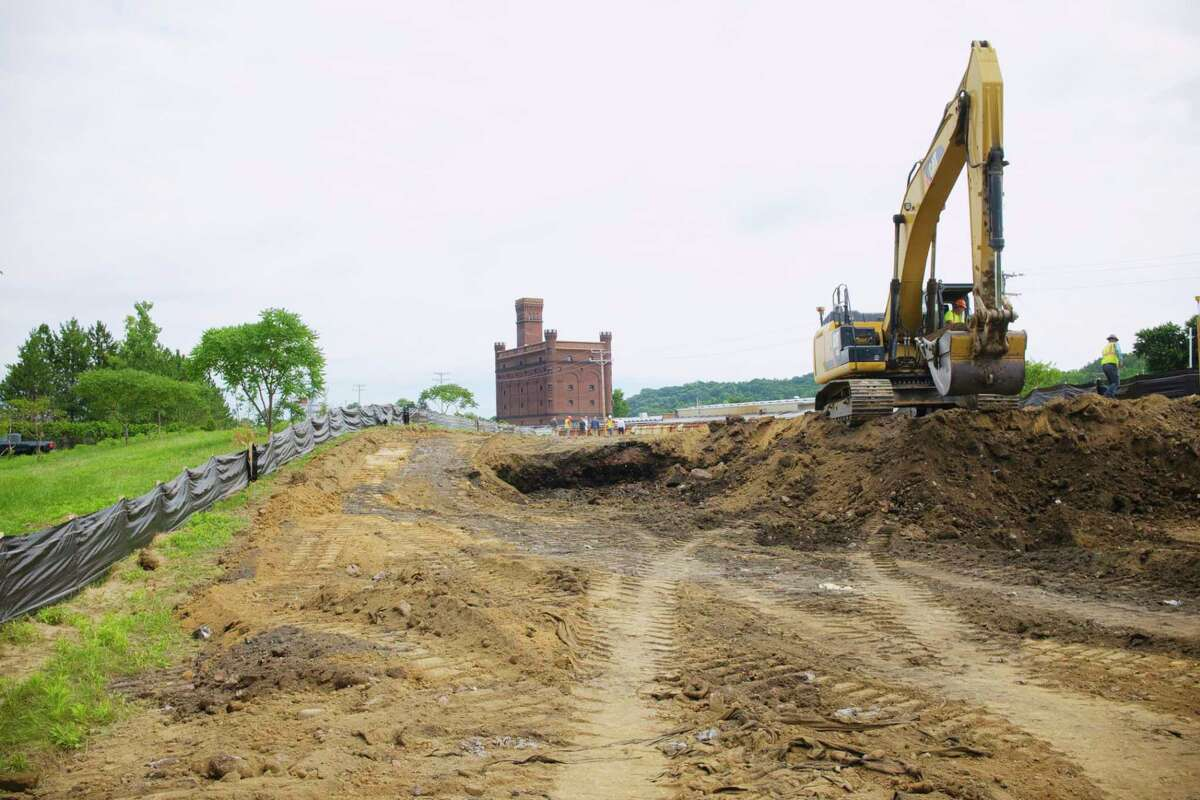 Construction work has started on the South Troy Industrial Road project on Wednesday, July 22, 2020, in Troy, N.Y. In the photo is a new section of road being built that will become River St. once the project is completed. (Paul Buckowski/Times Union)
