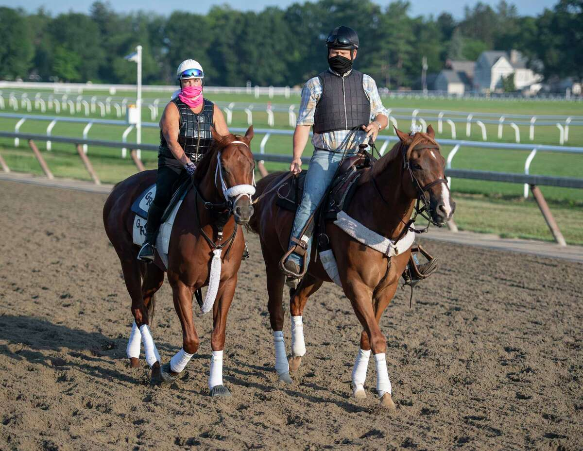 Trainer George Weaver takes Vekoma with wife and assistant trainer Cindy to the track at the Oklahoma training Center adjacent to the Saratoga Race Course July 22, 2020 in Saratoga Springs, N.Y. Photo by Skip Dickstein/Special to the Times Union.