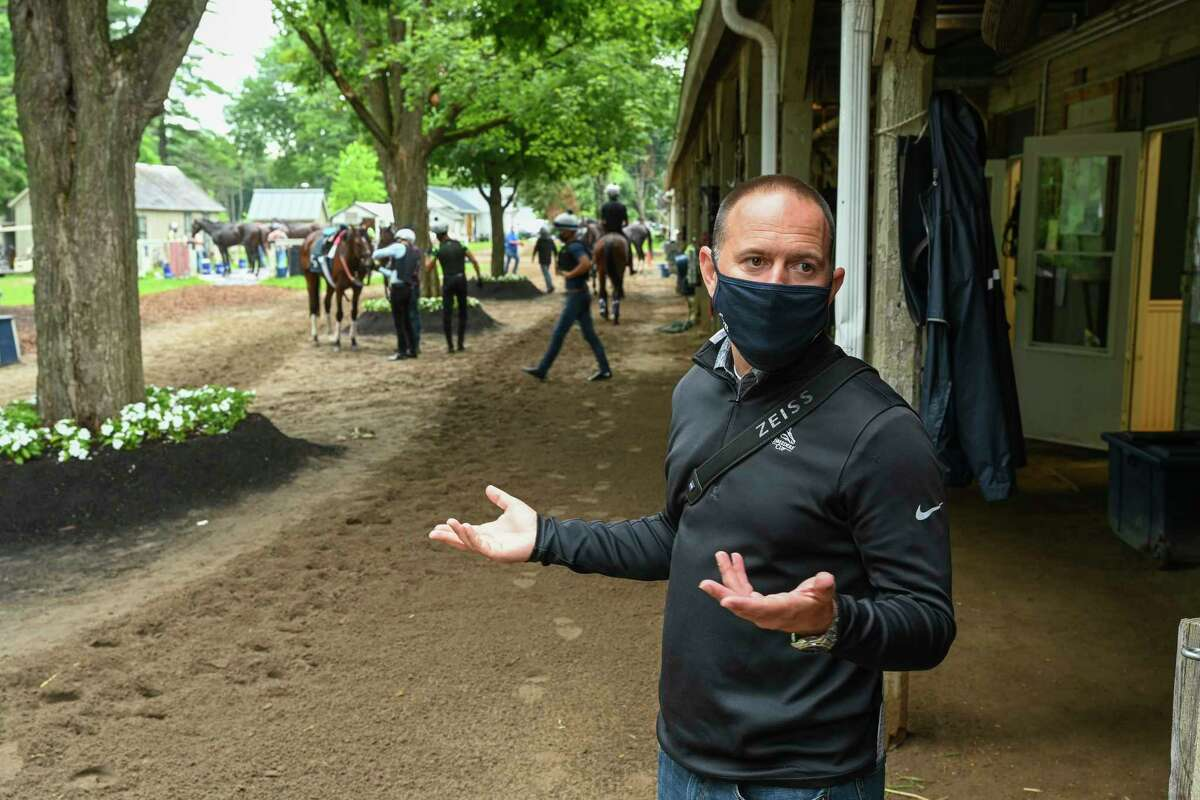 Trainer Chad Brown speaks to the Times Union at the Oklahoma training Center adjacent to the Saratoga Race Course July 22, 2020 in Saratoga Springs, N.Y. Photo by Skip Dickstein/Special to the Times Union.