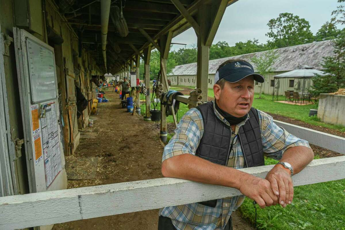 Trainer George Weaver speaks to the Times Union at the Oklahoma training Center adjacent to the Saratoga Race Course July 22, 2020 in Saratoga Springs, N.Y. Photo by Skip Dickstein/Special to the Times Union.