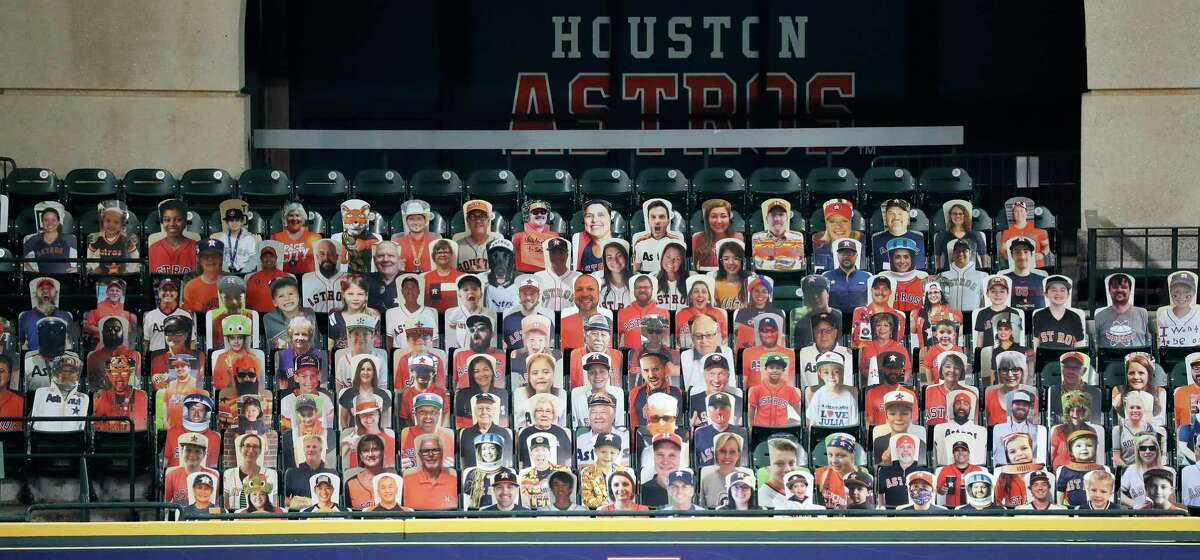 PHOTOS: See anyone you know? Take a look at more of the cardboard cutouts in the Crawford Boxes Houston Astros cardboard cutouts in the Crawford Boxes during the Astros summer camp at Minute Maid Park, Wednesday, July 22, 2020, in Houston.