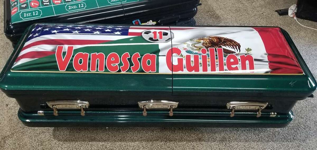 Image of Spc. Vanessa Guillén casket donated to her family by SoulShine Industries.