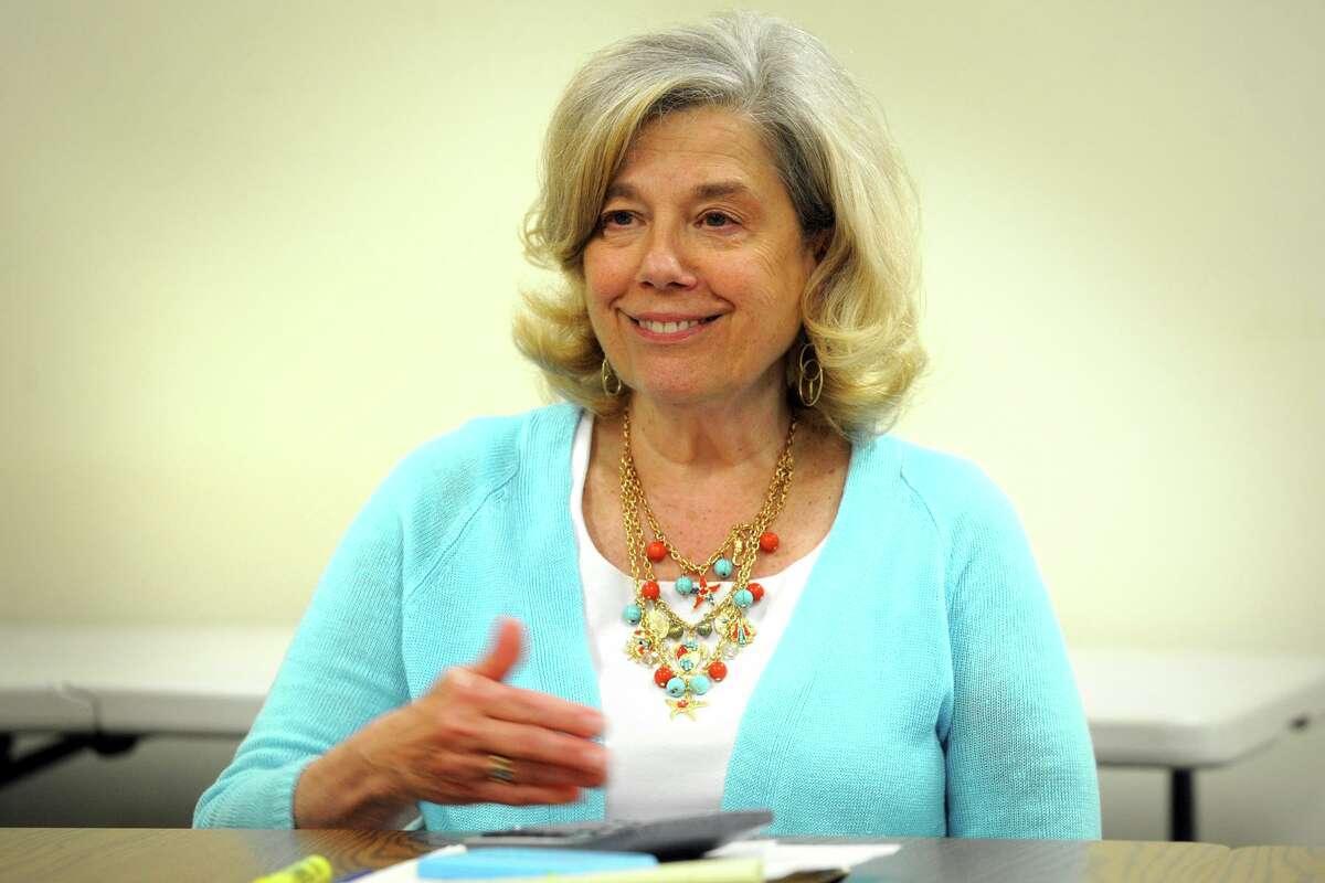Anne Gribbon, Director of the School Volunteer Association of Bridgeport speaks during a meeting in Bridgeport, Conn. June 27, 2018.