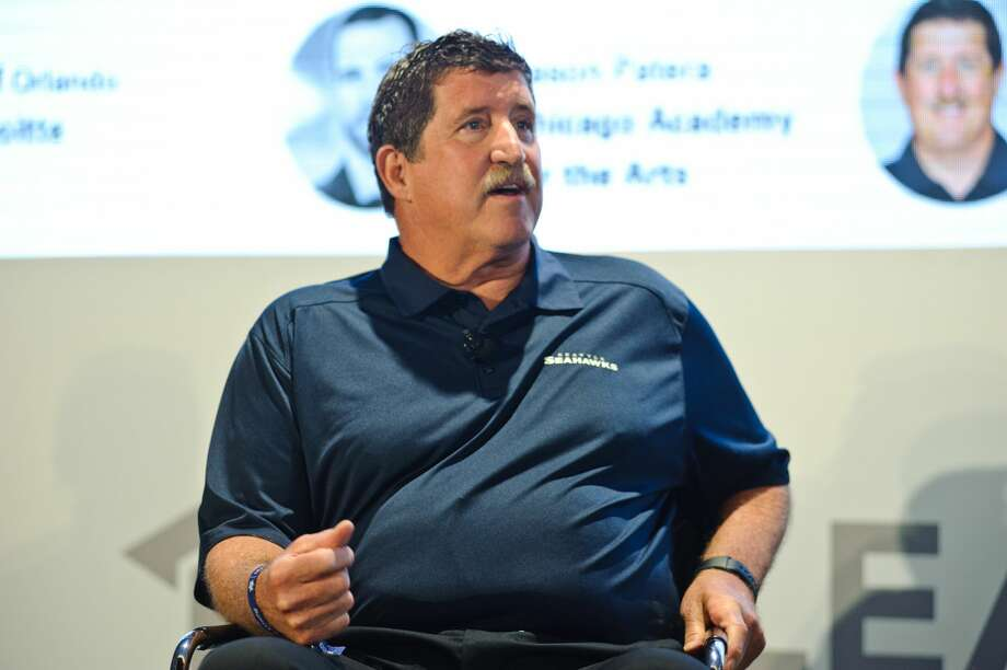 Pat Ruel speaks at the Leaders Sport Performance Summit at Soldier Field on June 28, 2017 in Chicago, Illinois. (Photo by Timothy Hiatt/Getty Images for Leaders) A Longtime Seattle Seahawks assistant offensive line coach, Ruel is retiring, a league source confirmed to SeattlePI Wednesday. Photo: Timothy Hiatt / 2017 Getty Images