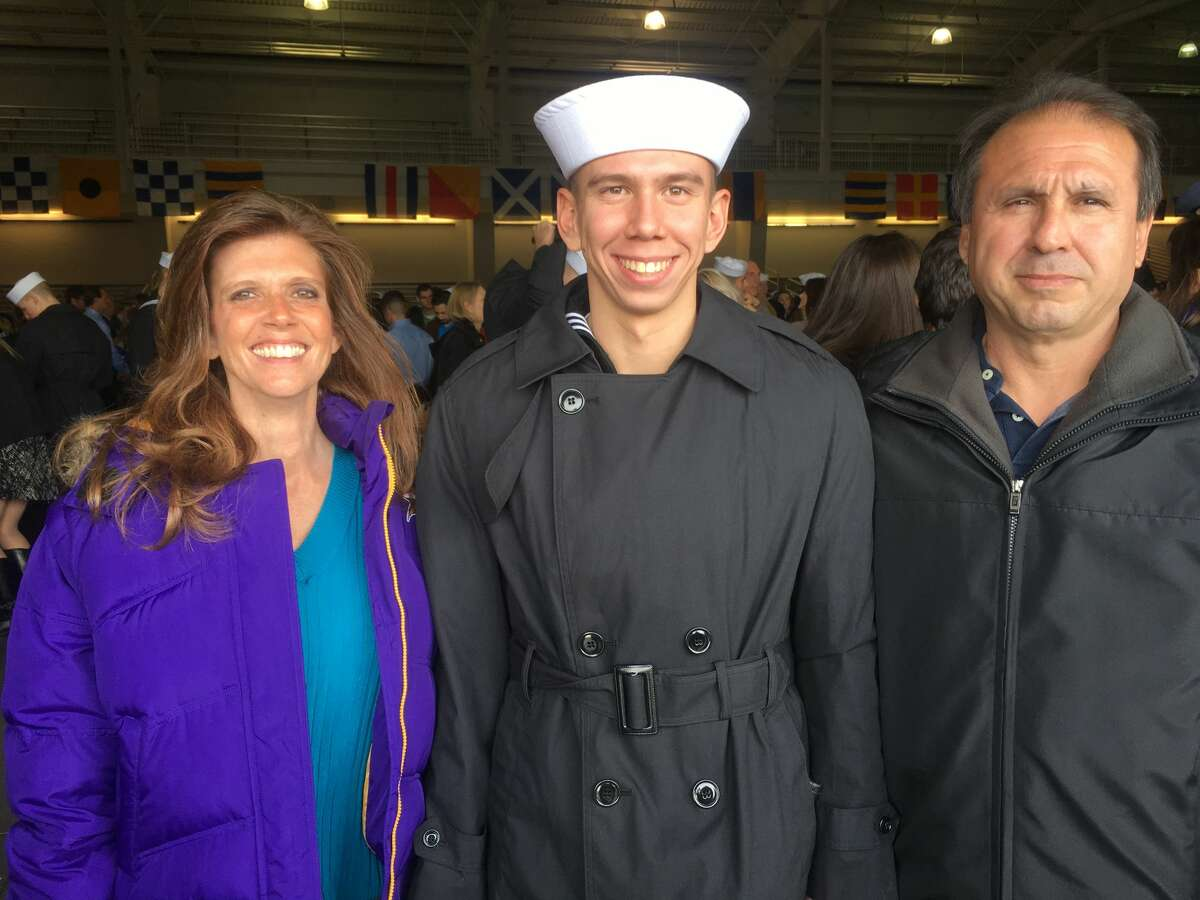 (L to R) Teri, Brandon and Patrick Caserta pose together in November 2016. Brandon Caserta, a Navy petty officer third class, died by suicide in 2018. Legislation to improve access to mental health care in the U.S. military is named after him.